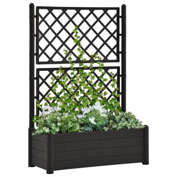 Antracitszürke polipropilén rácsos kerti ültető 100x43x142 cm - utánvéttel vagy ingyenes szállítással
