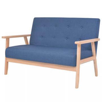 2 személyes kék szövet kanapé - ingyenes szállítás