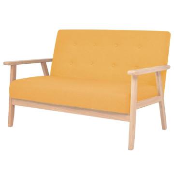 2 személyes sárga szövet kanapé - ingyenes szállítás