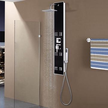 Fekete üveg zuhanypanel 18 x 42,1 x 120 cm - utánvéttel vagy ingyenes szállítással