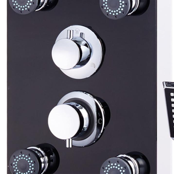Fekete üveg zuhanypanel 25 x 44,6 x 130 cm - utánvéttel vagy ingyenes szállítással