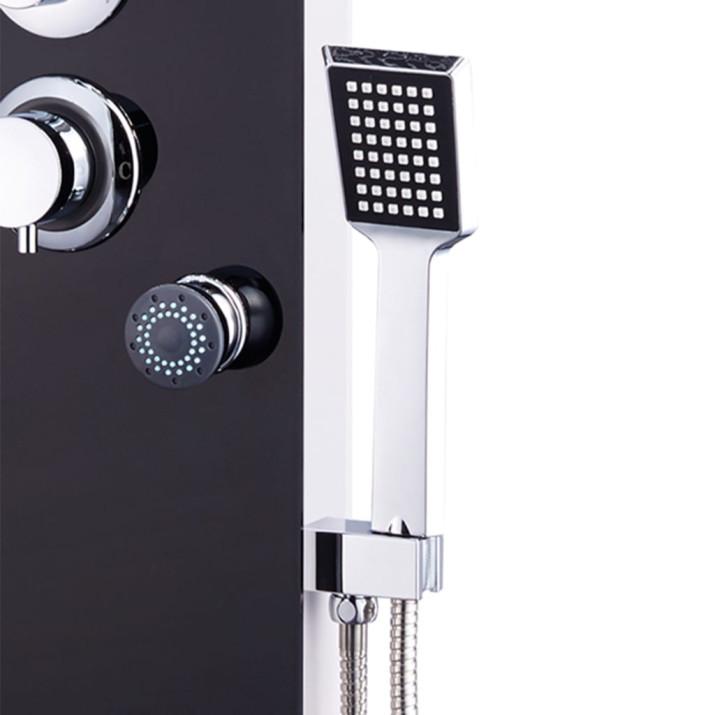 Fekete üveg zuhanypanel 25 x 44,6 x 130 cm - ingyenes szállítás