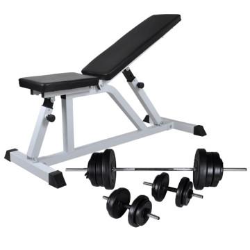 Edzőpad egykezes és kétkezes súlyzókészlettel 60,5 kg - ingyenes szállítás