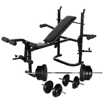 Súlyzópad állvánnyal, egykezes és kétkezes súlyzószettel 60,5 kg - ingyenes szállítás