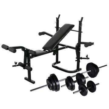 Súlyzópad állvánnyal, egykezes és kétkezes súlyzószettel 30,5 kg - ingyenes szállítás