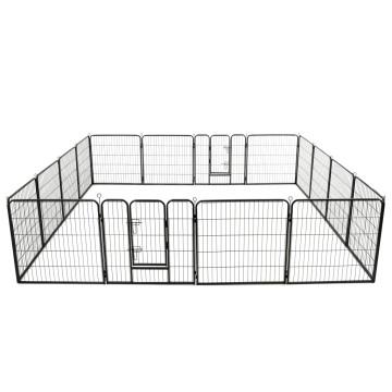 Fekete színű acél kutyakennel 16 panelből 80 x 80 cm - utánvéttel vagy ingyenes szállítással