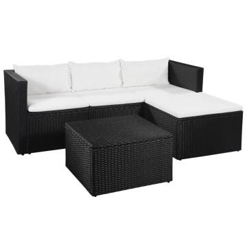 3-részes fekete és fehér polyrattan kerti bútorszett - utánvéttel vagy ingyenes szállítással