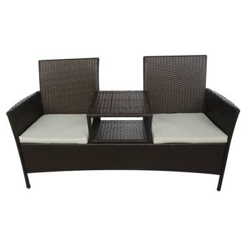 Barna kétszemélyes polyrattan kerti kanapé italtartó asztallal - ingyenes szállítás