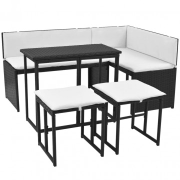5 részes fekete kültéri polyrattan és acél étkezőgarnitúra - utánvéttel vagy ingyenes szállítással