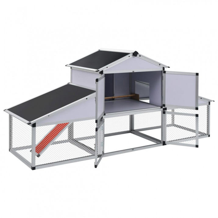 Alumínium tyúkól kifutóval és tojóládával - utánvéttel vagy ingyenes szállítással