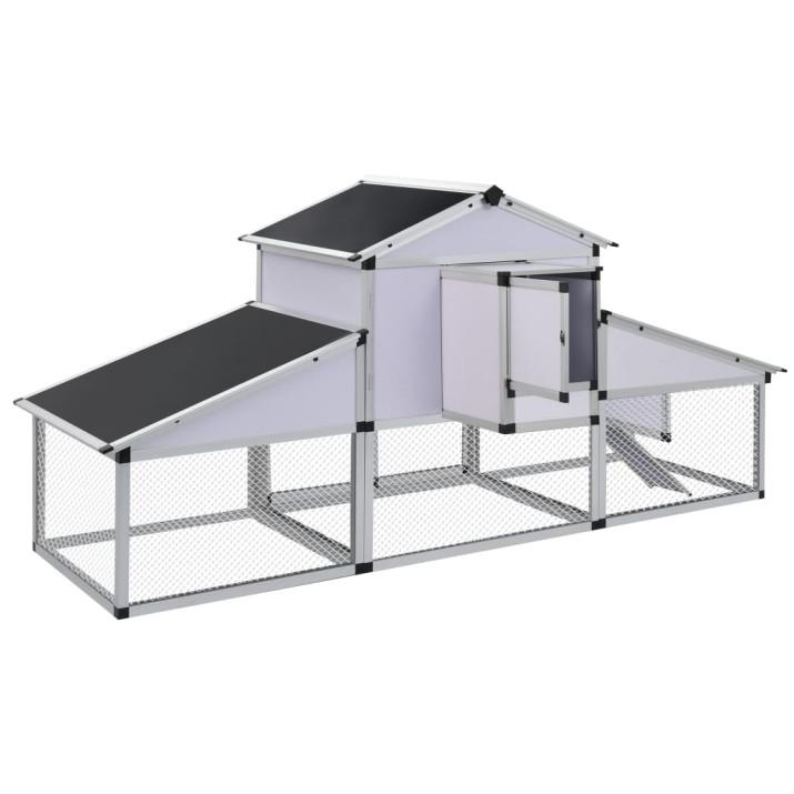 Alumínium tyúkól kifutóval és tojóládával - ingyenes szállítás