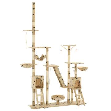 Bézs, mancsmintás macskabútor szizál kaparófákkal 230-250 cm - utánvéttel vagy ingyenes szállítással