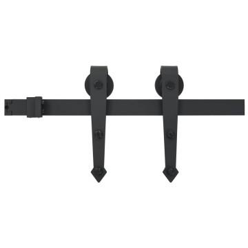 Fekete tolóajtó acél fémszerelék készlet 183 cm - utánvéttel vagy ingyenes szállítással
