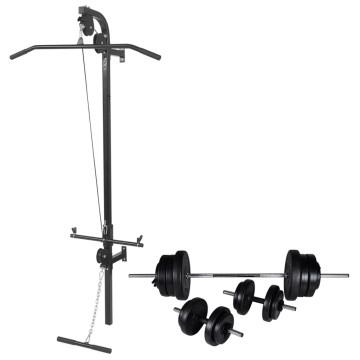 Falra szerelhető edzőtorony súlyzókészlettel 60,5 kg - ingyenes szállítás