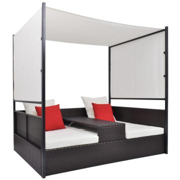 Barna polyrattan napellenzős kerti ágy 190 x 130 cm - utánvéttel vagy ingyenes szállítással