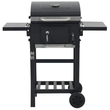 Fekete színű faszén tüzelésű grillsütő alsó polccal - ingyenes szállítás