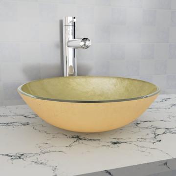42 cm-es edzett üveg mosdókagyló aranyszínű - ingyenes szállítás