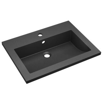 Fekete gránit mosdókagyló 600 x 450 x 120 mm - utánvéttel vagy ingyenes szállítással