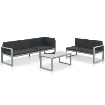 3 részes fekete alumínium kerti ülőgarnitúra párnákkal - utánvéttel vagy ingyenes szállítással