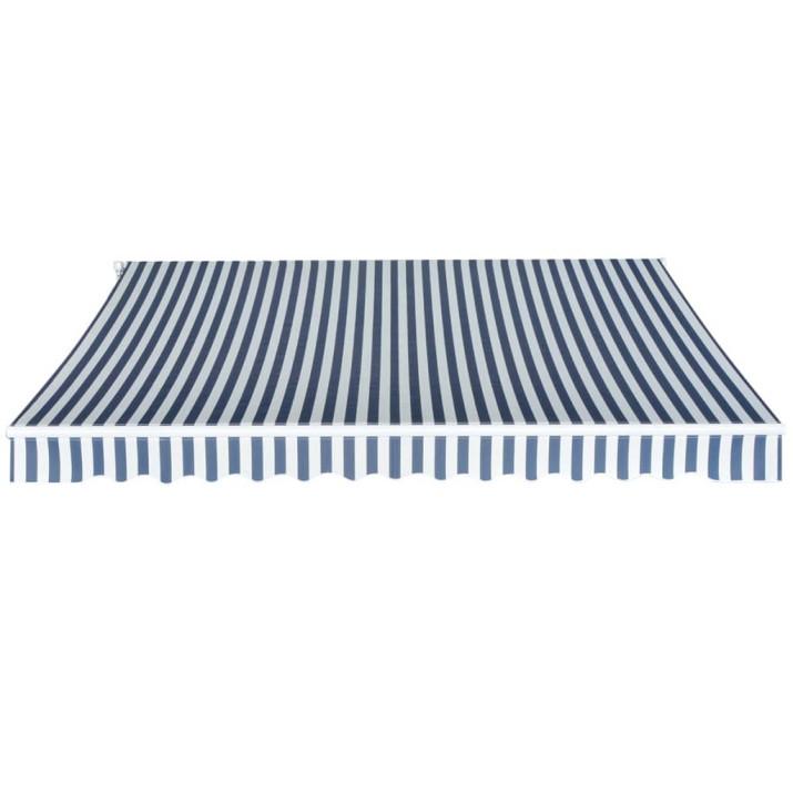 Kézi működtetésű összecsukható napellenző, kék-fehér, 350 cm - utánvéttel vagy ingyenes szállítással