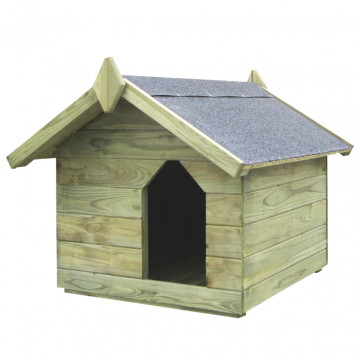 Impregnált fenyőfa kerti kutyaház felnyitható tető...
