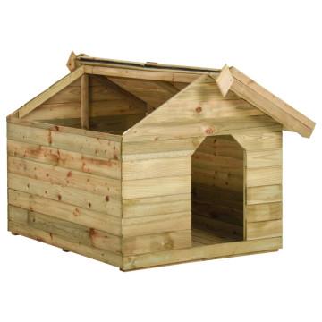 FSC impregnált fenyő kerti kutyaház felnyitható tetővel - ingyenes szállítás