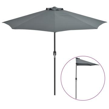 Antracit féloldalas erkély napernyő alumíniumrúddal 270x135 cm - utánvéttel vagy ingyenes szállítással