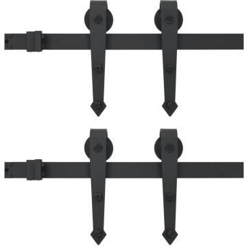 Fekete tolóajtó acél fémszerelék készlet 2 x 183 cm - utánvéttel vagy ingyenes szállítással