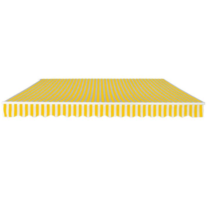 Kézi működtetésű összecsukható napellenző, sárga-fehér, 400 cm - utánvéttel vagy ingyenes szállítással