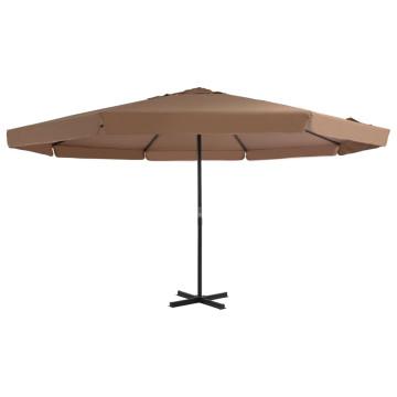 Tópszínű kerti napernyő alumínium tartórúddal, 500 cm átmérőjű - utánvéttel vagy ingyenes szállítással