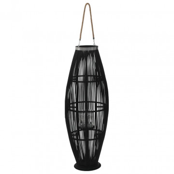 Fekete bambusz függő gyertyatartó lámpás, 95 cm - ingyenes szállítás