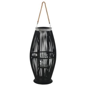 Fekete bambusz függő gyertyatartó lámpás, 60 cm - ingyenes szállítás