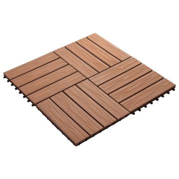 11 db (1 m2) v.barna dombornyomott WPC burkolólap 30x30 cm - utánvéttel vagy ingyenes szállítással
