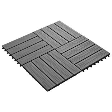 11 db (1 m2) szürke dombornyomott WPC burkolólap 30x30 cm - utánvéttel vagy ingyenes szállítással