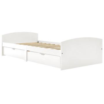 2 fiókos fehér tömör fenyőfa ágykeret 90 x 200 cm - utánvéttel vagy ingyenes szállítással