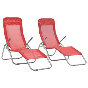 2 db piros összecsukható textilén napozóágy - ingyenes szállítás