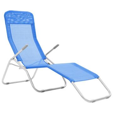 2 db kék összecsukható textilén napozóágy - ingyenes szállítás