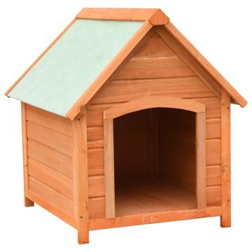 Tömör fenyő- és jegenyefa kutyaház 72 x 85 x 82 cm - ingyenes szállítás