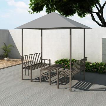Antracitszürke kerti pavilon asztallal és paddal 2,5 x 1,5 x 2,4 - utánvéttel vagy ingyenes szállítással