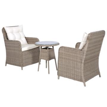 3 darabos barna polyrattan bisztrószett szék- és hátpárnákkal - utánvéttel vagy ingyenes szállítással