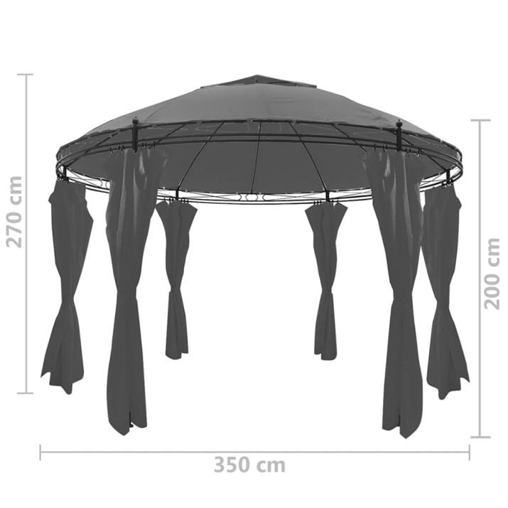 Kerek antracitszürke pavilon függönyökkel 3,5 x 2,7 m - utánvéttel vagy ingyenes szállítással