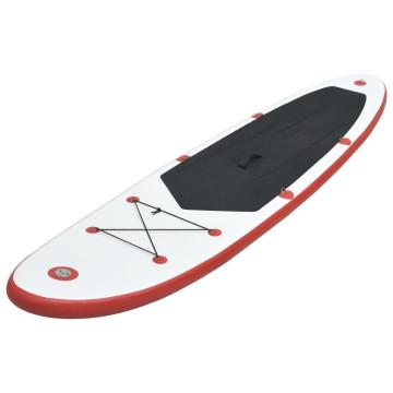 Felfújható állva evezős (SUP) szörfdeszka piros és fehér - ingyenes szállítás