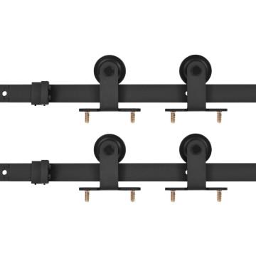 2 darabos fekete acél tolóajtó-szerelvényszett 183 cm - utánvéttel vagy ingyenes szállítással
