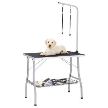 állítható kutyakozmetikai asztal 2 hurokkal és kosárral - utánvéttel vagy ingyenes szállítással