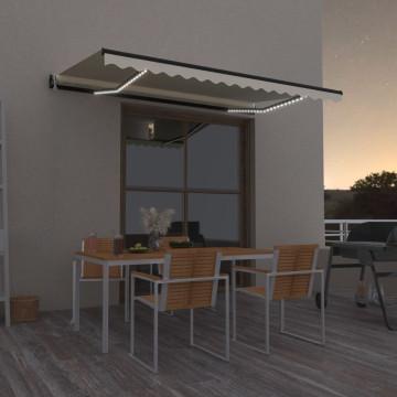 Krémszínű automata szélérzékelős és LED-es napellenző 450x300cm - utánvéttel vagy ingyenes szállítással