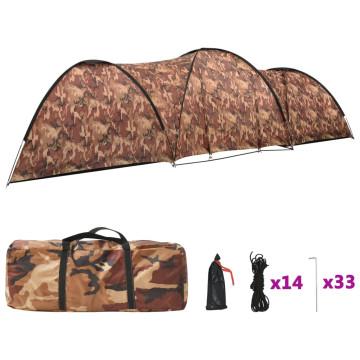 8 személyes terepszínű iglu kempingsátor 650 x 240 x 190 cm - utánvéttel vagy ingyenes szállítással