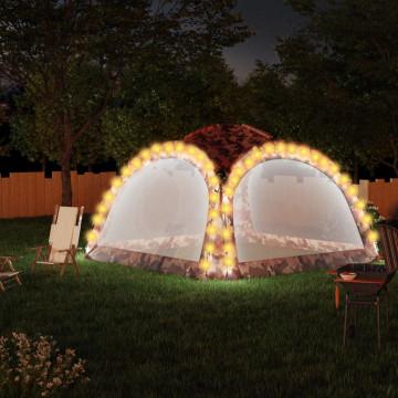 Terepszínű partisátor LED-del és 4 oldalfallal 3,6x3,6x2,3 m - utánvéttel vagy ingyenes szállítással