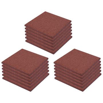 18 darab piros esésvédő, ütéscsillapító gumilap 50 x 50 x 3 cm - utánvéttel vagy ingyenes szállítással