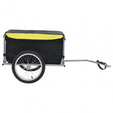 Kerékpár utánfutó fekete és sárga 65 kg - ingyenes szállítás