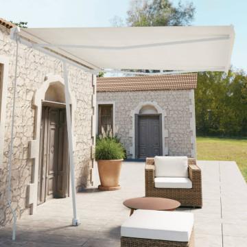 Krémszínű kézzel kihúzható póznás napellenző 300 x 250 cm - utánvéttel vagy ingyenes szállítással